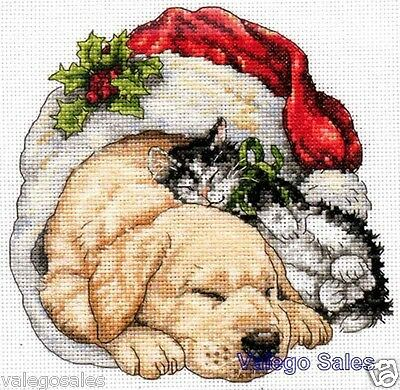 """Dimensions Gold Counted Cross Stitch kit 6"""" x 6"""" ~ CHRISTMAS MORNING PETS #08826"""