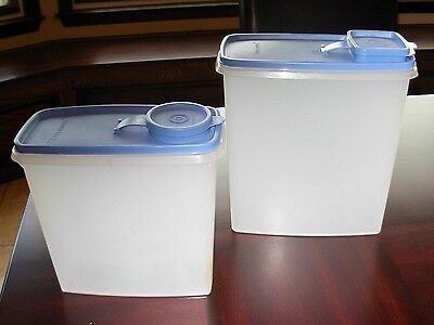 Tupperware Super 20 Cup & 13 Cup Cereal Storer with Blue Seal and Caps