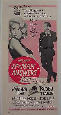 1962 SANDRA DEE If A Man Answers Movie Ad BOBBY DARIN Stefanie Powers