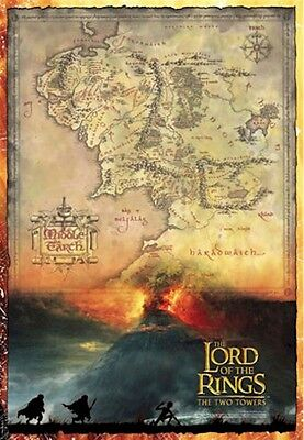 LORD OF THE RINGS MOVIE POSTER ~ TWO TOWERS MIDDLE EARTH MAP 27x39 Mount Doom