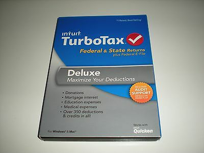 Turbotax 2013 Deluxe & State with 2012 Deluxe & State as bonus. Sealed boxes.
