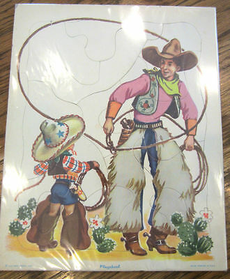 PLAYSKOOL COWBOY FRAME TRAY PUZZLE WITH LASSO ROPE TRICK
