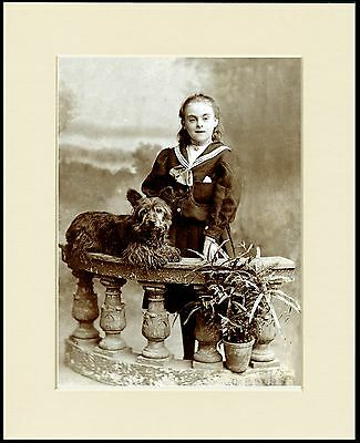 Skye Terrier Girl And Dog Great Image Lovely Print Mounted Ready To Frame