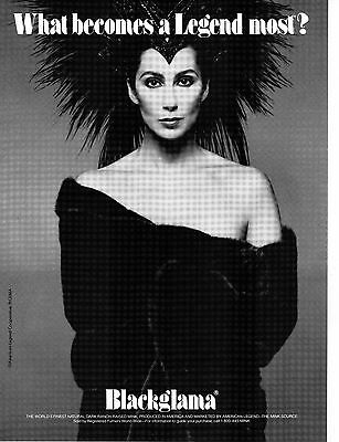 Vintage BLACKGLAMA Print Ad with CHER - Proof - Mint Condition