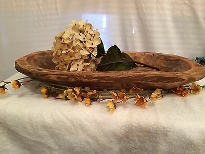 Primitive Country Large Hand Carved Wood Dough Bowl/Trencher ~ Oval Shape