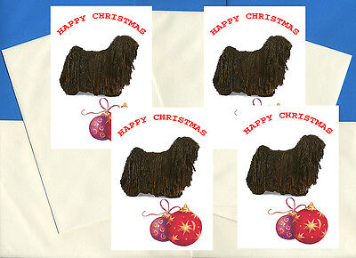 Hungarian Puli Pack Of 4 Cards Dog Print Greeting Christmas Cards