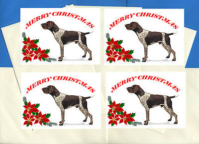 German Shorthaired Pointer Pack Of 4 Cards Dog Print Greeting Christmas Cards