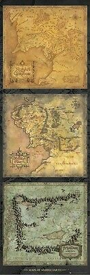 LORD OF THE RINGS ~ 3 MIDDLE EARTH MAPS 21x62 MOVIE POSTER Mordor Hobbit Map