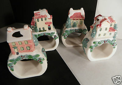 Pfaltzgraff Winterberry Napkin Ring SET of 4 Different Houses Ceramic various