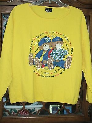 vintage 90s chic top sweatshirt cropped L cotton yellow teddy bear sunny texture