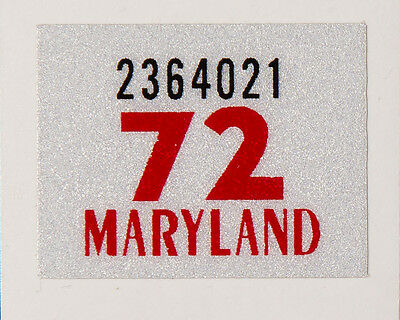 1972 Maryland Registration Stickers, Reflective 3M Material, High Quality. Pair