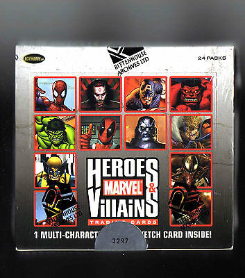 Marvel Heroes & Villains sealed Hobby box SKETCH card inside