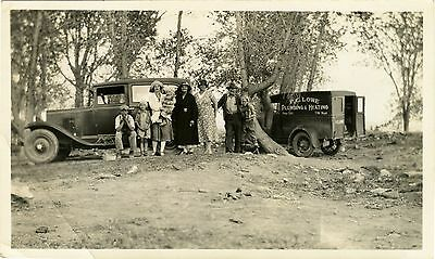 FAMILY POSING BY P.C.LOWE PLUMBING & HEATING TRUCK BOY WITH CAMERA ANTIQUE PHOTO