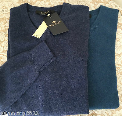 NWT Daniel Bishop 100% 2-ply cashmere sweater Men indigo aegean blue $160
