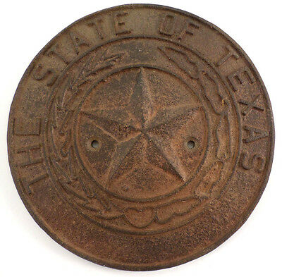 THE STATE OF TEXAS STAR WALL PLAQUE CAST IRON DECORATION ANTIQUE PATINA