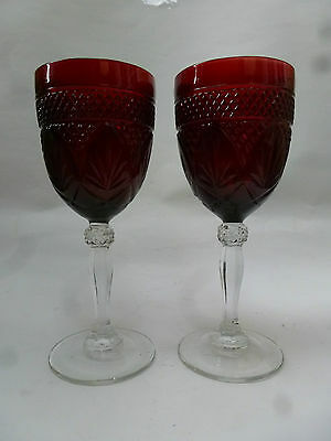 Pair Vintage Ruby Red France Cris D' Arques  Ruby Red Stemmed Goblets