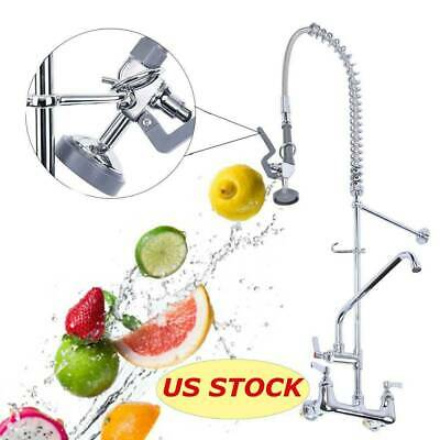 """12"""" Commercial Wall Mount Kitchen Pre-Rinse Faucet w/ Add-On Restaurant Tap"""
