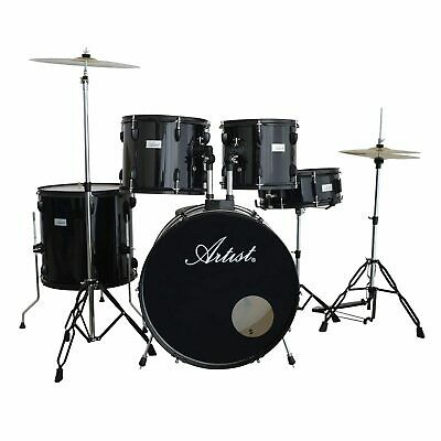 Artist ADR522 5-Piece Drum Kit + Cymbals and Stool - Black - New