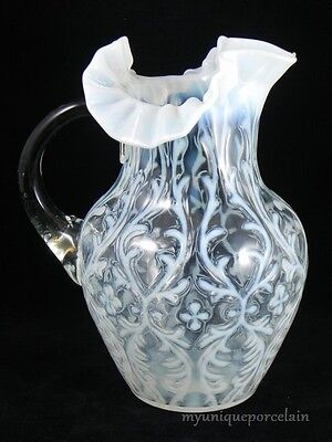 ANTIQUE NORTHWOOD OPALESCENT SPANISH LACE RARE LARGE RUFFLED PITCHER