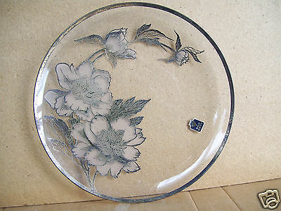 """Very Old Antique Gold Plated & Decorated 11 1/2"""" Glass Round Platter Plate"""