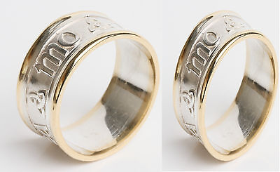 Set 14k Gold Sterling Silver Irish Handcrafted Anam Cara soul mate Celtic Ring