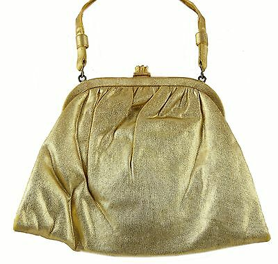 Vtg Gold Lame Evening Purse Bag Large Clear RS Accent Closure Short Handle