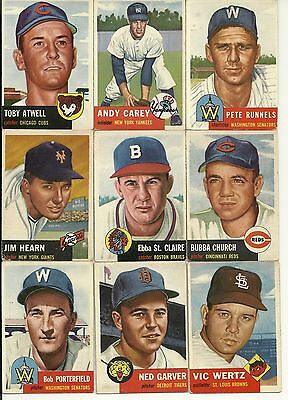 1953 Topps Lot of 22 different cards Average condition is VG/EX to EX Set Break
