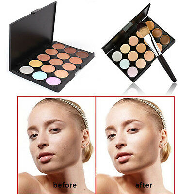 NEW Pro 15 Colors Contour Face Cream Makeup Concealer Palette Powder Brush #J