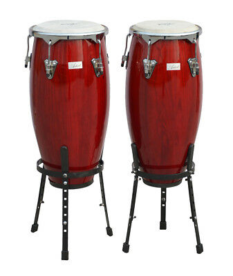 Artist CG1011 Red Conga Drums 10 and 11 Inch Set + Stands  - New