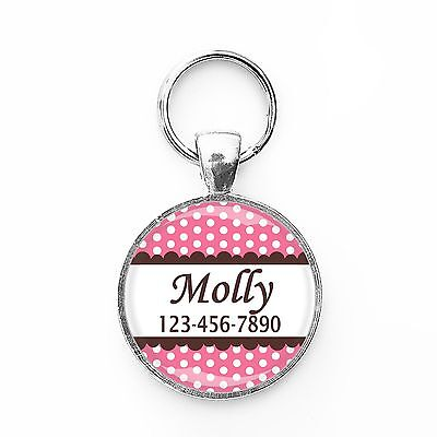 Polka-dot Pink Customized Pet ID Name Tag for Small Breed Dogs or Cats