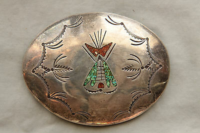 Vtg Native American Sterling Silver Turquoise Coral Inlay Western Belt Buckle