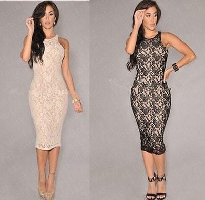 Sexy Women Lace Pencil Dress Sleeveless Party Evening Dress OL Midi Dress