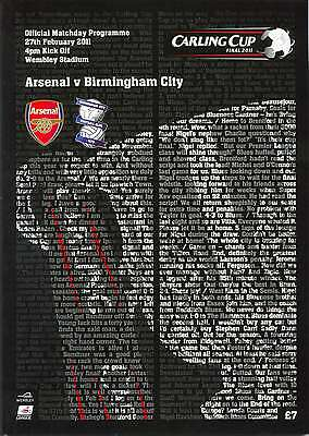 CARLING LEAGUE CUP FINAL 2011 ARSENAL v BIRMINGHAM MINT PROGRAMME