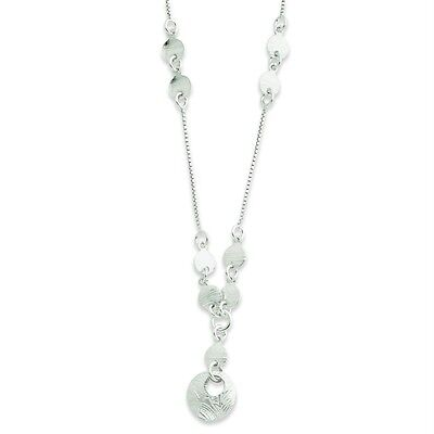 "Ladies .925 Sterling Silver 5.53mm Polished Fancy Round Drop 18"" Chain Necklace"