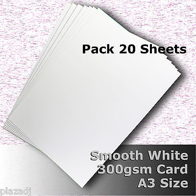 20 Sheets Smooth Finish White Card High Quality A3 Size 300gsm Archival #H7368