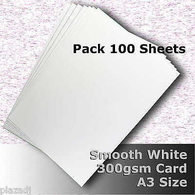 100 Sheets Smooth Finish White Card High Quality A3 Size 300gsm Archival #H7368