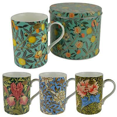 NEW Fine China WILLIAM MORRIS Vintage Design MUG/CUP with Tin by Leonardo GIFT