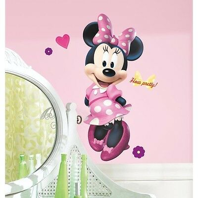 New Disney GIANT MINNIE BOW-TIQUE 17 Wall Decals Mural Stickers Girls Room Decor