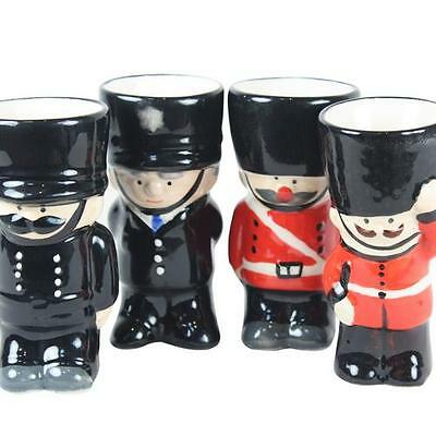 Set of 2 Ceramic Soldier and Policeman Childrens Egg Cups Eggcups for Kids