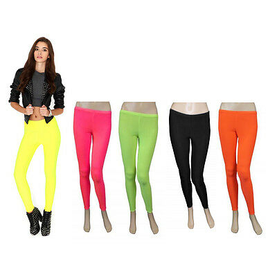 New Girls Dance Wear Neon Plain Full Length Leggings 80s Disco