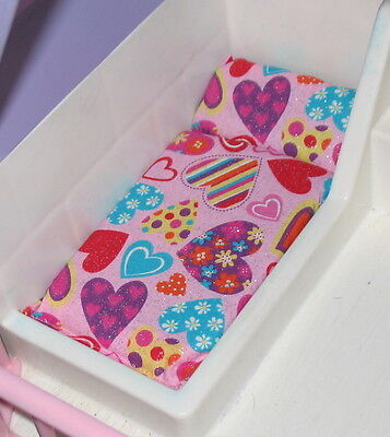 DOLLHOUSE BED MATTRESS LITTLE TIKES PINK HEARTS & FLOWERS 2ND ITEM SHIPS FREE
