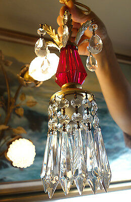 1of2 Vintage ruby Lucite hanging mini foyer tole lamp chandelier crystal prisms
