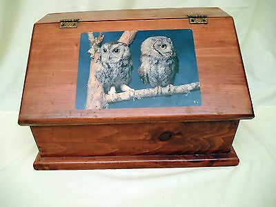 OLD  WOOD BREAD BOX WITH 2 OWLS ON FRONT LIFT DOOR - NEEDS TLC