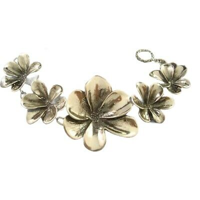 Taxco Mexican 925 Sterling Silver Floral Flower Oxidized Bracelet Mexico