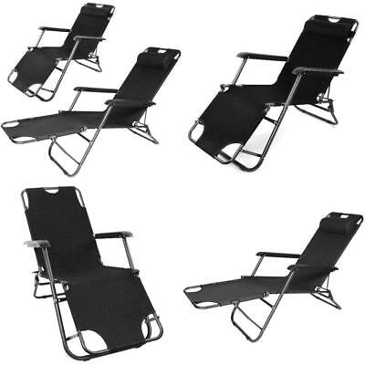 Folding Reclining Garden Deck Chair Outdoor Camping Beach Sun Lounger