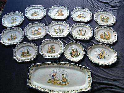 Old european faience set. Early 20th century. Signed
