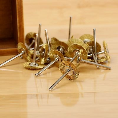 20Pcs 22mm Rotary Tool Brass Wire Wheel Brush For Grinder Die Power Accessories
