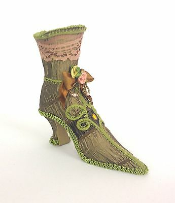Vintage Victorian Style Detailed Shoe Boot Jewellery Holder Ornament  GREEN 7639