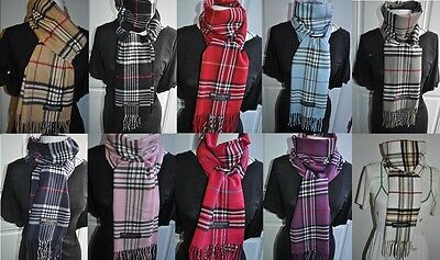 (10 colors) wholesale a lot of 3 Plaid stripe 100%  unisex cashmere Neck scarf