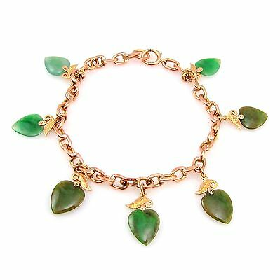 Gorgeous 14k Two Tone Rose Gold Scroll Leaf Tear Drop Shape Jade Bracelet |RC